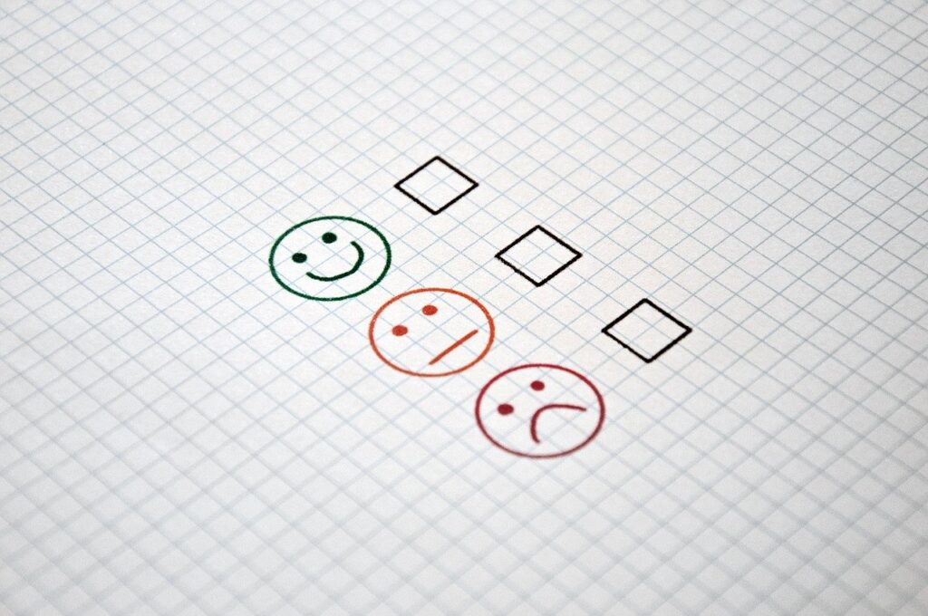 Feedback options, three faces showing positive, negative and indifferent opinions