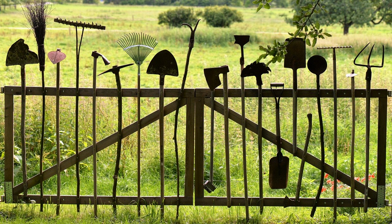 An organised collection of old garden tools