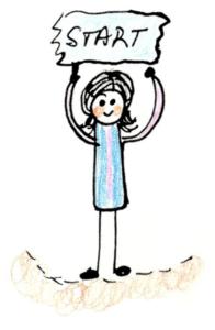 Girl holding a start flag