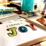 Picture in notebook of the word joy
